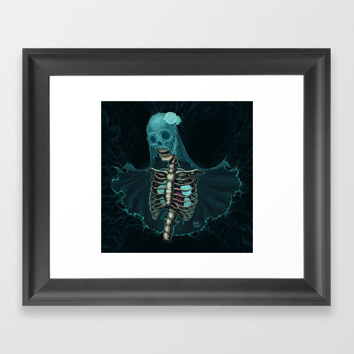 Skeleton with veil and white roses Framed Art Print