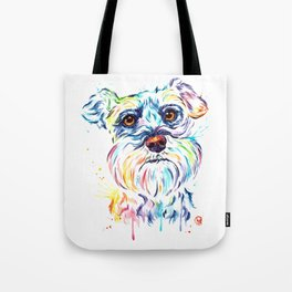 Schnauzer Watercolor Pet Portrait Painting Tote Bag