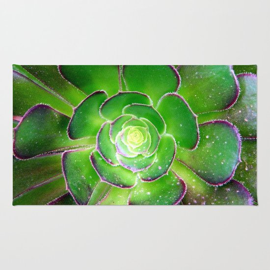 Radiant green and purple succulent plant Rug