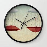 rain Wall Clocks featuring embracing the rain by Vin Zzep
