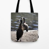 ducks Tote Bags featuring Ducks by Phil Hinkle Designs