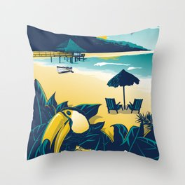 Cancun Mexico vintage travel poster Throw Pillow