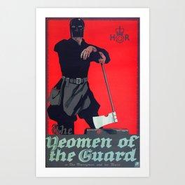 Vintage Art Deco pre 1920's Theatre Play Poster Style Woman Guard Art Print