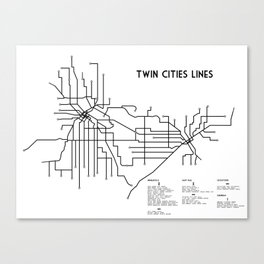 Twin Cities Lines Map Canvas Print