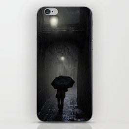 Night walk in the rain iPhone Skin