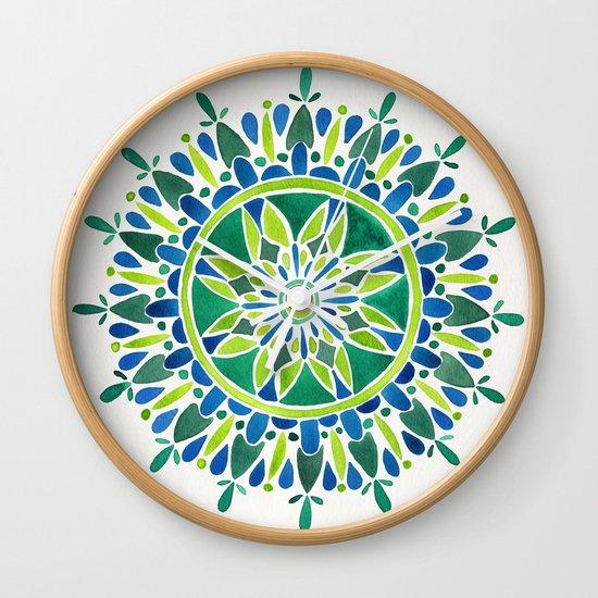 Watercolor Mandala – Green Wall Clock