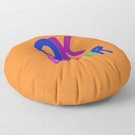 OK BOOMER orange watercolor Floor Pillow