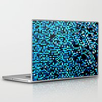 pixel Laptop & iPad Skins featuring Turquoise Blue Aqua Black Pixels by 2sweet4words Designs