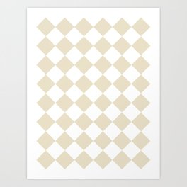 Large Diamonds - White and Pearl Brown Art Print