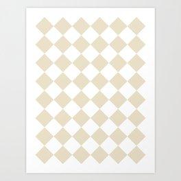 Large Diamonds - White and Pearl Brown Art Print