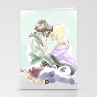 les mis Stationery Cards featuring jehan and grantaire les mis by Pruoviare