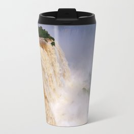Aerial view of a majestic and powerful waterfall Travel Mug