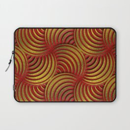 Red Leather and Gold Circulate Wave Pattern Laptop Sleeve