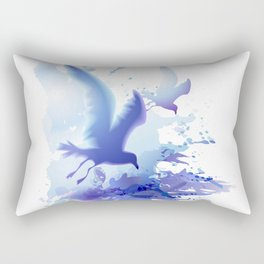 Watercolor sea ocean waves seascape with realistic birds, gulls, abstract water. Realism. Art. Rectangular Pillow