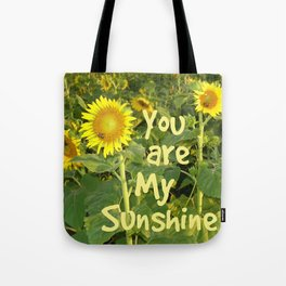 Sunflower Art // You are My Sunshine, Art with Bees Tote Bag