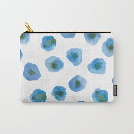 Printed Poppy - Blue Carry-All Pouch