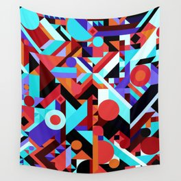 CRAZY CHAOS ABSTRACT GEOMETRIC SHAPES PATTERN (ORANGE RED WHITE BLACK BLUES) Wall Tapestry