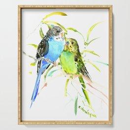 Budgies, love bird green blue decor Serving Tray