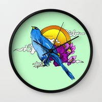 clear Wall Clocks featuring Clear by hickorysoul