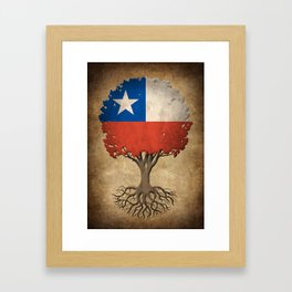 Vintage Tree of Life with Flag of Chile Framed Art Print