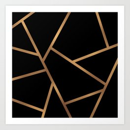 Black and Gold Fragments - Geometric Design Art Print