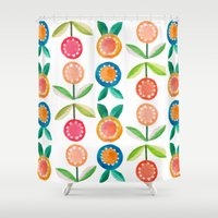 water colour Shower Curtains featuring Water colour flowers by catherineinsch