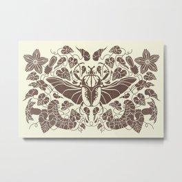 Beetle Bloom Brown Metal Print