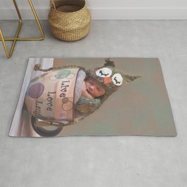 Baby With Owl Cap Rug