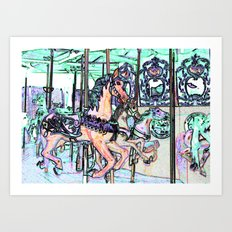 Colorful Carousel Horses By Annie Zeno Art Print