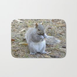 Gray Squirrel Munching on Pine Cones Bath Mat