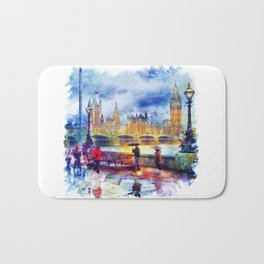 London Rain watercolor Bath Mat
