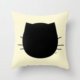 Black cat-Pastel yellow Throw Pillow