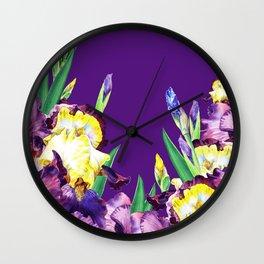 Iris Flowers Wall Clock