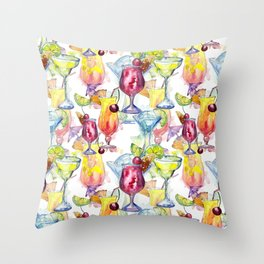Tropical Watercolor Cocktails Throw Pillow