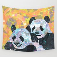 pandas Wall Tapestries featuring Pandas by DanielleArt&Design