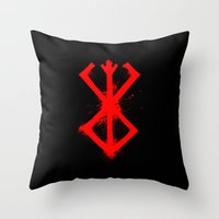 berserk Throw Pillows featuring Cursed Mark by CaptainSunshine
