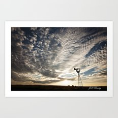 Sandhills Windmill @ Sunset Horizontal Art Print