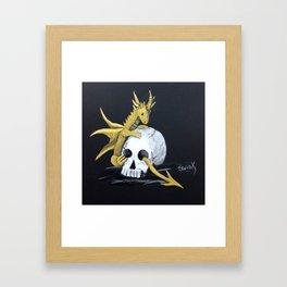 Gold Dragon & Skull Framed Art Print