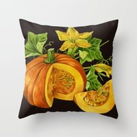 pumpkin Throw Pillows featuring Pumpkin by ElenaTerrin