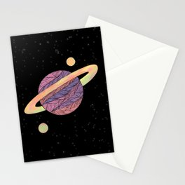 Pink and Purple Ultraviolet Planet Stationery Cards