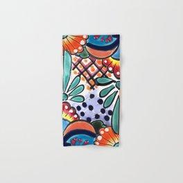 Colorful Talavera, Orange Accent, Mexican Tile Design Hand & Bath Towel
