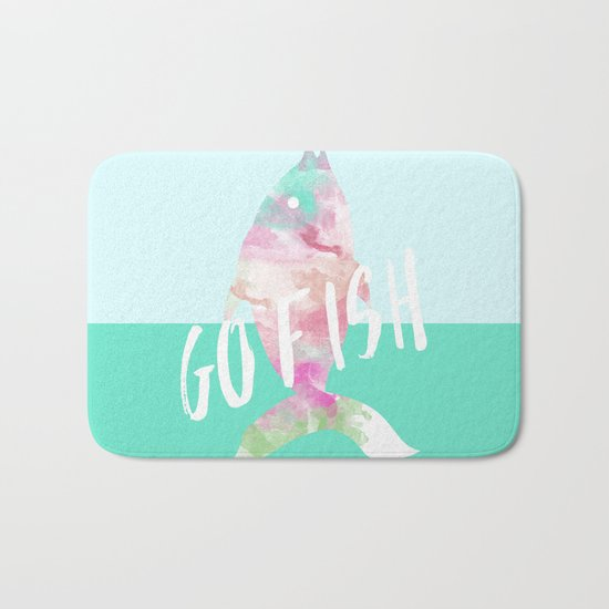 Go Fish With Quote #society6 Bath Mat