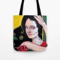 dia de los muertos Tote Bags featuring Dia de los Muertos by whiterabbitart