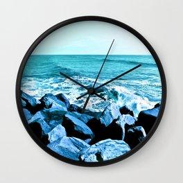 South Jetty Rocks, Sunset Beach, PacificOcean, Oregon Coast Wall Clock