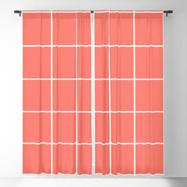 Grid pattern on living coral Blackout Curtain