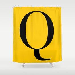 Serif Q. Black on Yellow. Shower Curtain