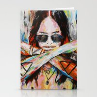 30 seconds to mars Stationery Cards featuring Jared Leto 30 Seconds To Mars Original Acrylic Painting by RockChromatic