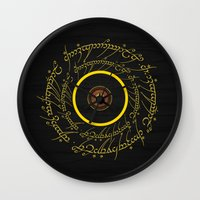 lord of the ring Wall Clocks featuring Lord Of The Ring - Sauron Eye by Raisya