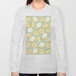 Lemons On Turquoise Background Long Sleeve T-shirt