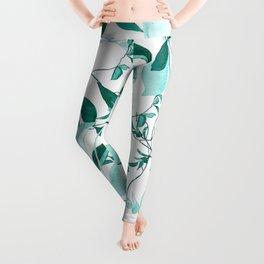 fresh green leaf pattern Leggings